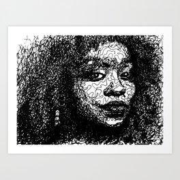 Girl line drawing Art Print