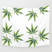 marijuana Wall Tapestries featuring Marijuana Leaves  by Limitless Design