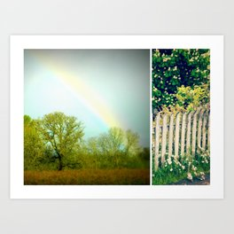rainbows and picket fences Art Print