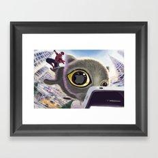 Falling Cat & Hero Framed Art Print