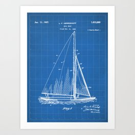 Sailboat Patent - Yacht Art - Blueprint Art Print