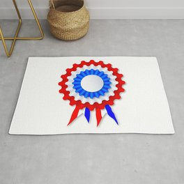 Red White and Blue Rosette Rug