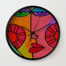 Colorful Abstract Digital Painting of a Face Wall Clock