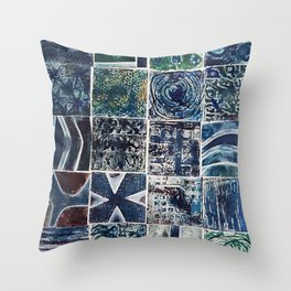 Quilt of a Sort in Blue Throw Pillow