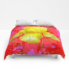YELLOW IRIS MODERN ART RED FLORAL ABSTRACT Comforters
