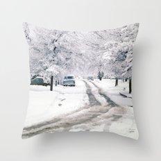 Winter on Beechwood Lane Throw Pillow