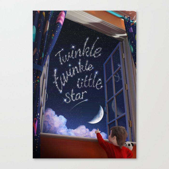 Twinkle Twinkle Little Star - Nursery Rhyme Inspired Art Canvas Print