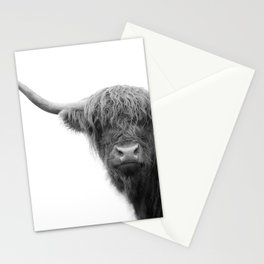 Highland Cow Black & White #4 #wall #art #society6 Stationery Cards