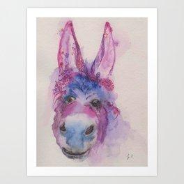 Ink Animals of Africa - Dreamy Donkey Art Print