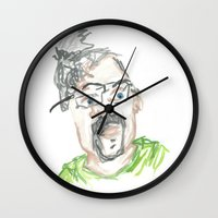 kevin russ Wall Clocks featuring Kevin by Sadie Padial