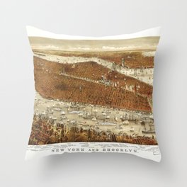 Aerial View of New York and Brooklyn (1875) Throw Pillow