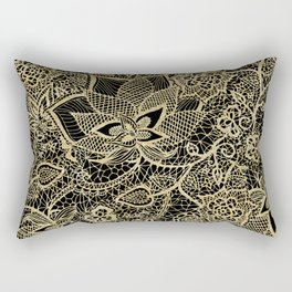 Elegant gold black hand drawn floral lace pattern  Rectangular Pillow
