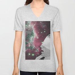 People of the Universe-Nebula Blindfold-Pink Unisex V-Neck