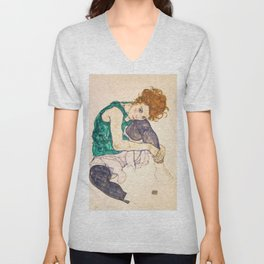 "Egon Schiele ""Seated Woman with Legs Drawn Up"" Unisex V-Neck"