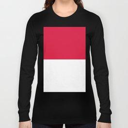 White and Crimson Red Horizontal Halves Long Sleeve T-shirt