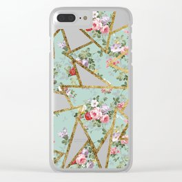 Modern abstract gold pink green floral triangles Clear iPhone Case