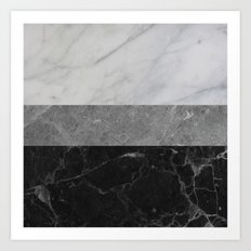 Marble - White, Grey, Black Art Print
