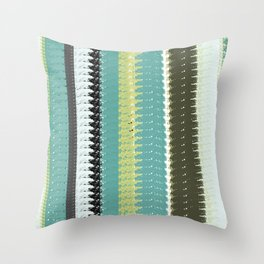 Green, Black, and Blue Woven Blanket Design Throw Pillow