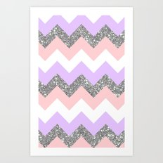 purple & coral chevron Art Print