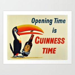 Vintage Beer  Poster - Opening Time is Guinness Time - Beer/Drinks Vintage Poster Art Print