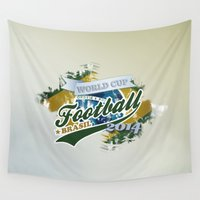 football Wall Tapestries featuring Football  by ArtAngelo