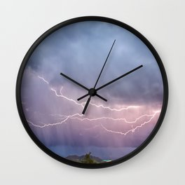 March Lightning Over Cave Creek Arizona Wall Clock
