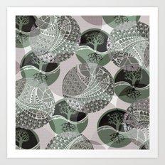 Zentangle and Tree Motifs in Circles Art Print