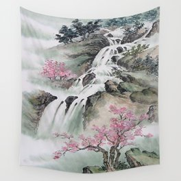 WATERFALLS AND MOUNTAIN LANDSCAPE Wall Tapestry