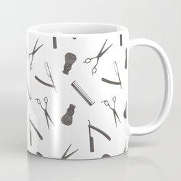 Barbershop pattern shaving razor, brushes and scissors on white Coffee Mug