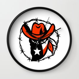 Texan Outlaw Texas Flag Barb Wire Icon Wall Clock