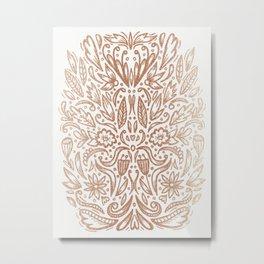 Rose Gold Shimmer Folk Floral Metal Print
