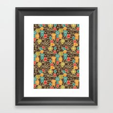 Robots on brown. Framed Art Print