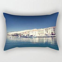 White and dark blue Rectangular Pillow