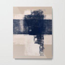Just Tan & Indigo   Expressive Minimalist Abstract Metal Print