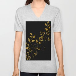 TREES VINES AND LEAVES OF GOLD Unisex V-Neck