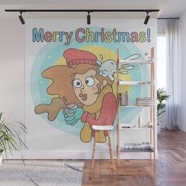Merry Christmas Snowball Wall Mural