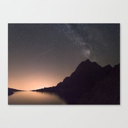 SHOOTING STAR / MILKYWAY / PINK SKY Canvas Print