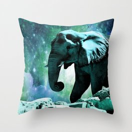 Galaxy Elephant of the Planet Pachyderm Throw Pillow