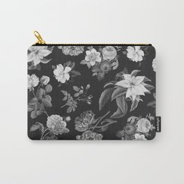 Vintage flowers on black Carry-All Pouch
