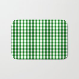 Christmas Green Gingham Check Bath Mat