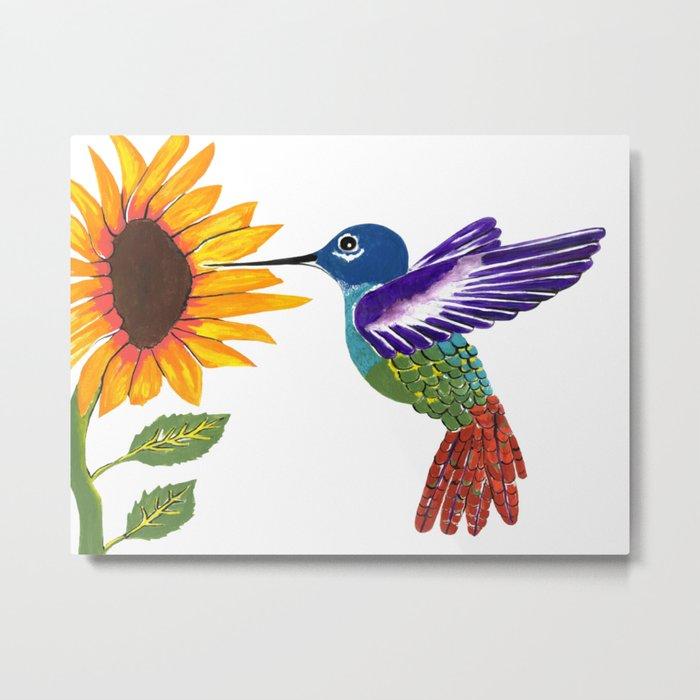 The Sunflower And The Hummingbird Metal Print