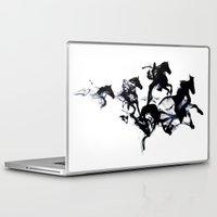 horses Laptop & iPad Skins featuring Black horses by Robert Farkas