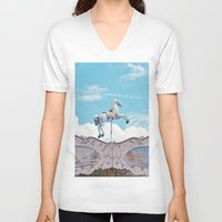 carousel V-neck T-shirts featuring carousel by cavernsss
