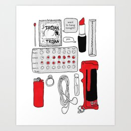 Bag Contents Art Print