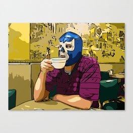Blue Demon Luchador Coffee Break Canvas Print