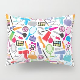 make up collection background (seamless pattern, beauty and makeup design) Pillow Sham