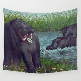 Vintage Illustration of Hippopotamuses (1874) Wall Tapestry