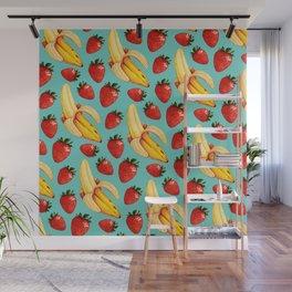 Strawberry Banana Pattern Wall Mural