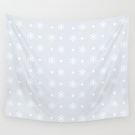 Light Grey background with white snowflakes and stars pattern Wall Tapestry