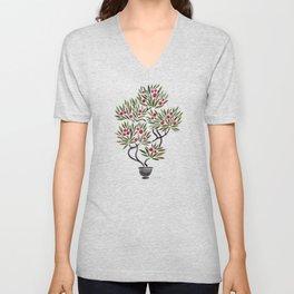 Bonsai Fruit Tree – Sage & Burgundy Palette Unisex V-Neck